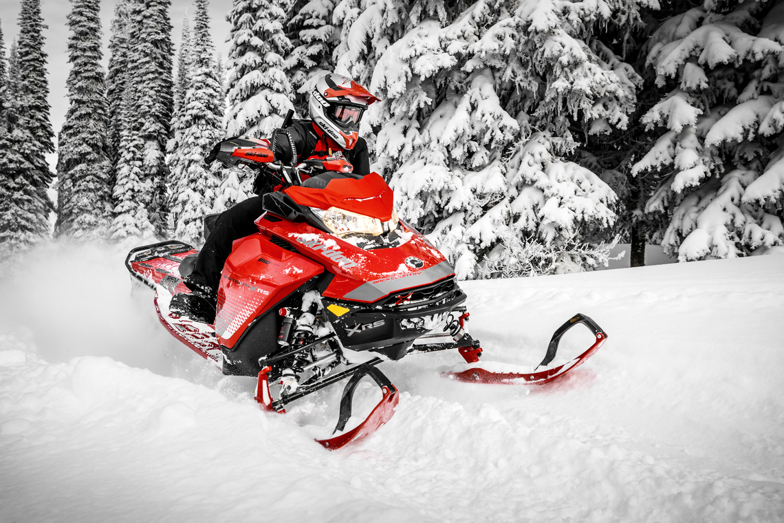 Lava Red 2019 Ski-Doo Backcountry™ X-RS® on forest trail