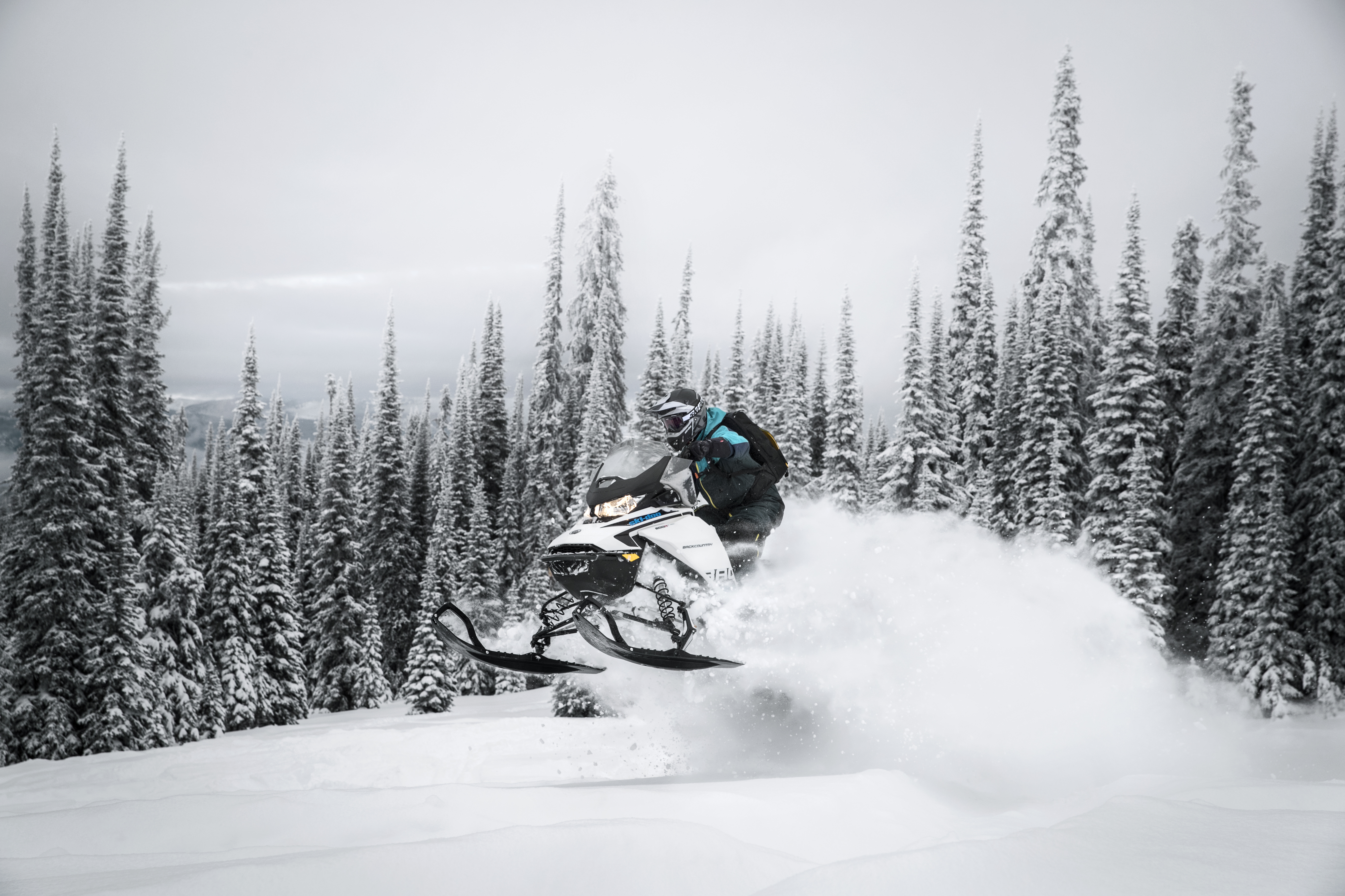 Getting some air on a Ski-Doo snowmobile