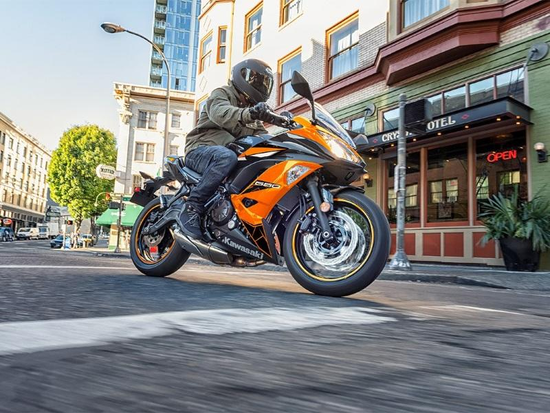 2019 Kawasaki Ninja® 650 Sport Bike riding on a city street
