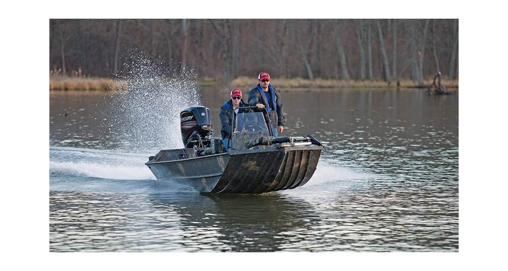 Two guys out fishing on a 2018 Lowe Roughneck 1860 Pathfinder