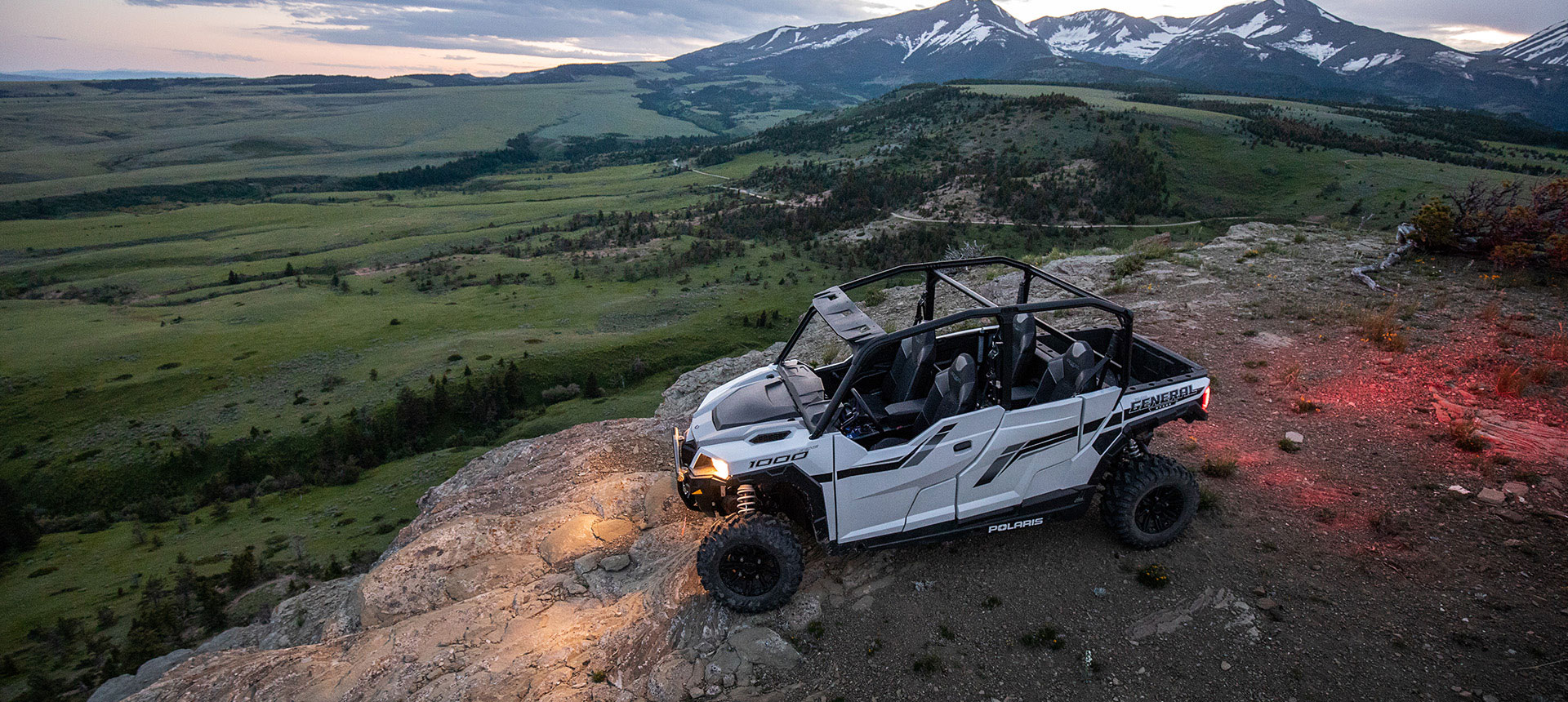 Polaris General parked on a mountain top