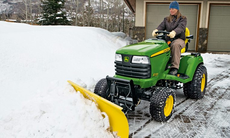 John Deere Lawn Mower with Snow Plow Blade