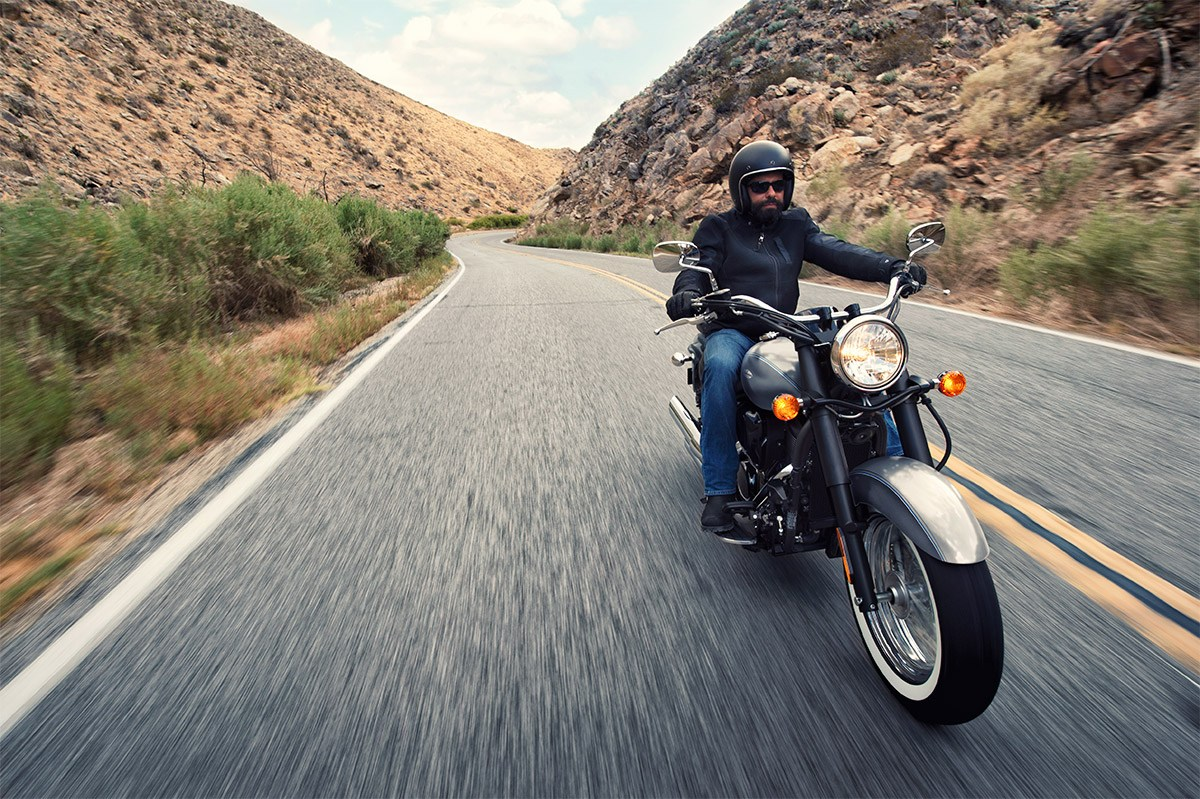 Enjoying the open road on a cruiser motorcycle.