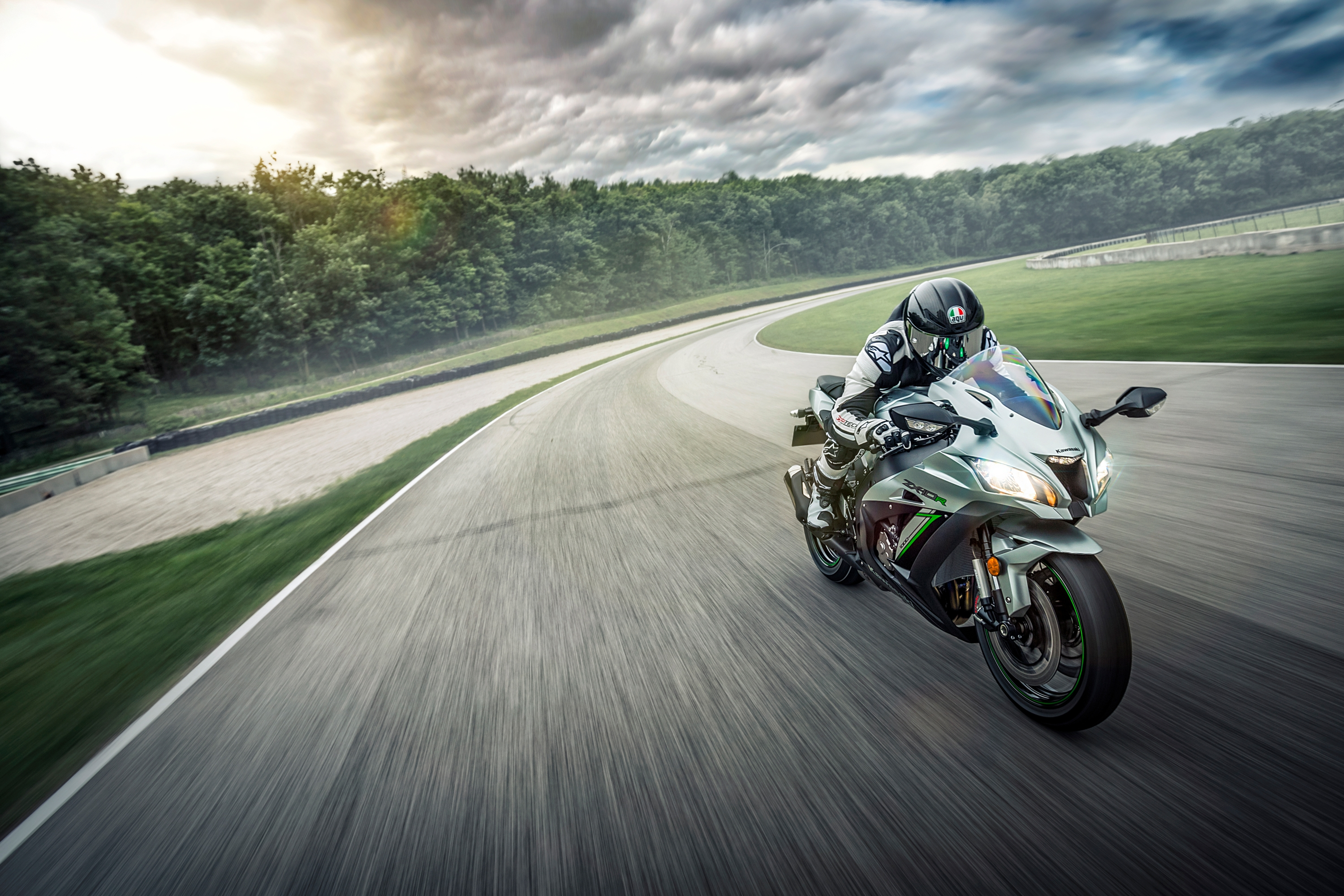 Kawasaki street bike on a test track hitting the straight away