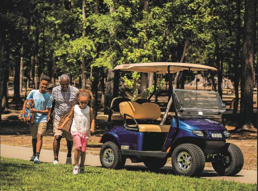 Taking a golf cart to a great picnic spot