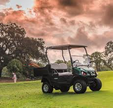 A Cushman Hauler® 800X utility vehicle sitting idle on a golf course.