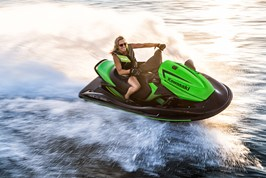 Carving a nice turn on the water on a Kawasaki Jet Ski®.