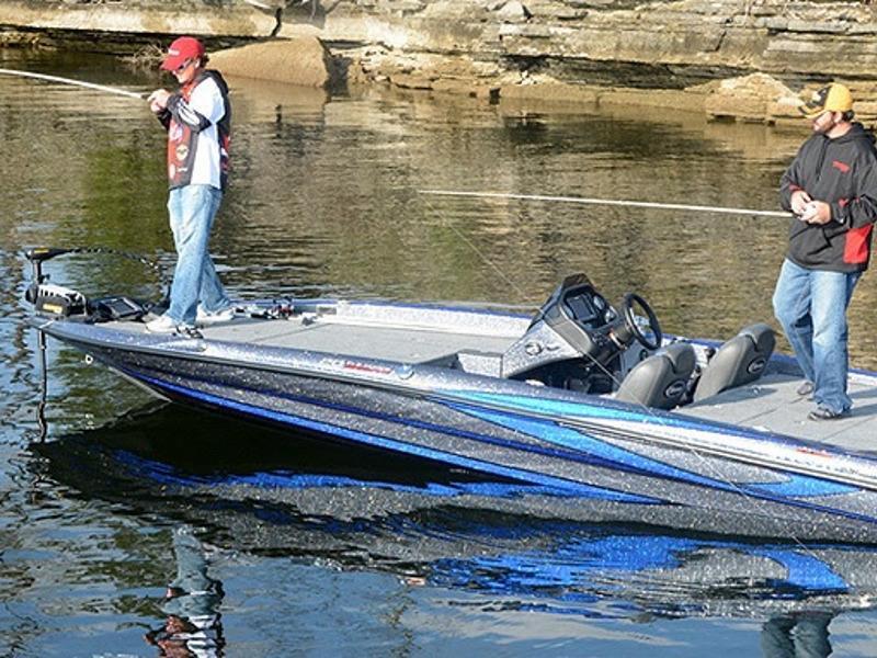 Men fishing on a 2018 Triton TRX Patriot 20