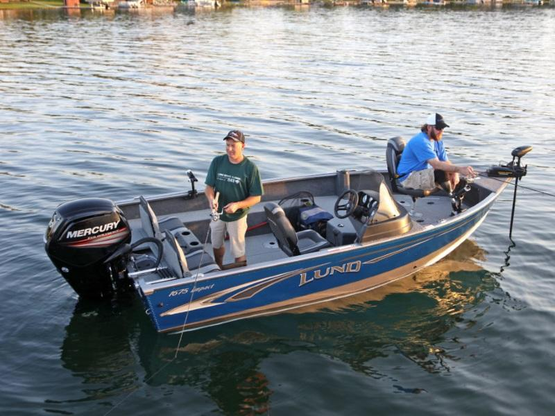 Two guys using a 2019 Lund 1675 Impact Sport boat to go out fishing