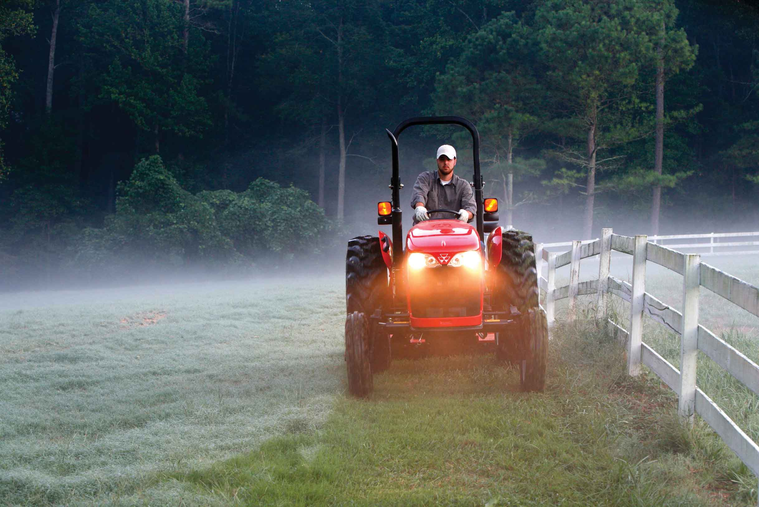 Driving a tractor through the morning fog