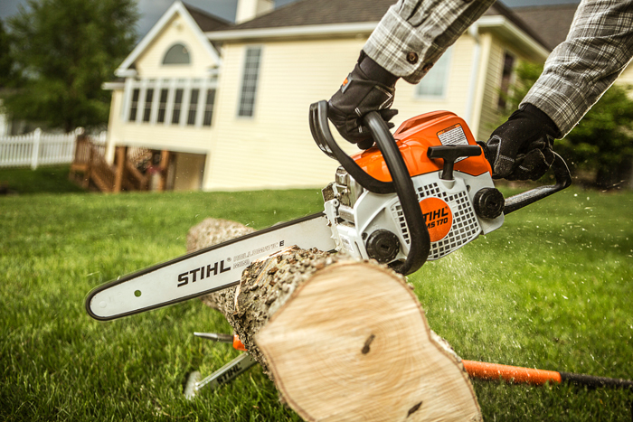 Cutting a fallen tree with a STIHL chainsaw.