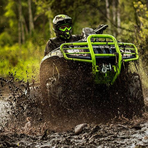 Textron Mud Pro Sport ATV stuck in mud puddle near Tully, NY