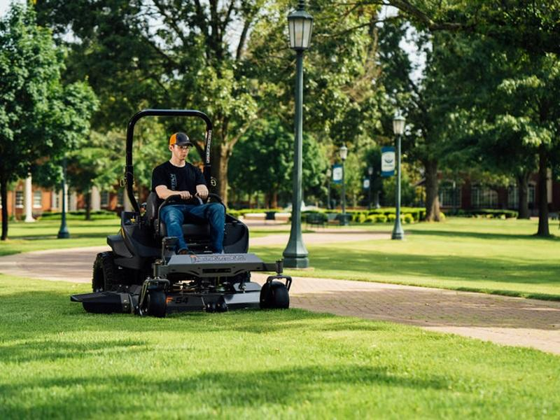 2019 Spartan Mowers RT PRO cutting grass on a large sunny campus