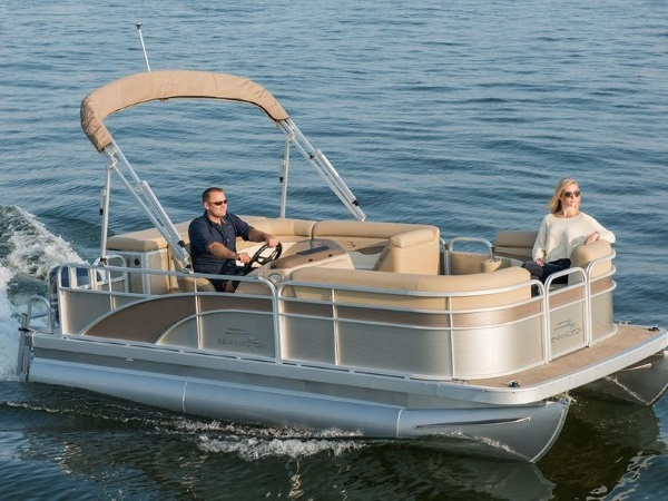 Two Persons on a 2019 Bennington 18 SL Touring Boat