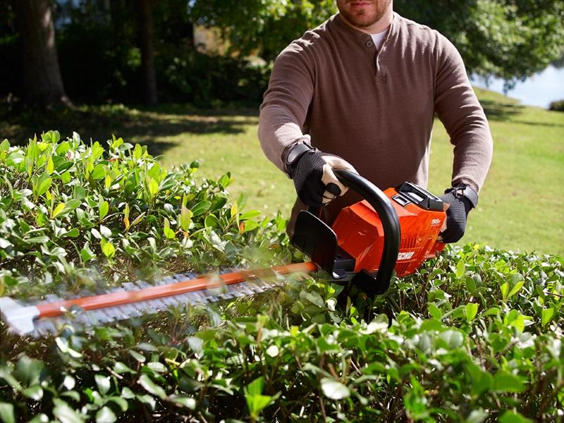 Man using an ECHO hedge trimmer to trim a bush