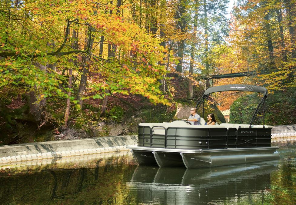 Berkshire Pontoon Boat in Fall