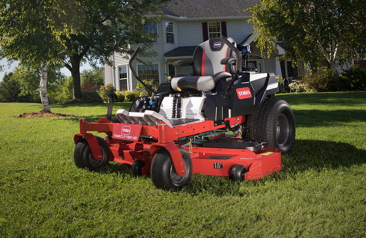 New Toro® Lawn Mower on a front lawn instead of the house