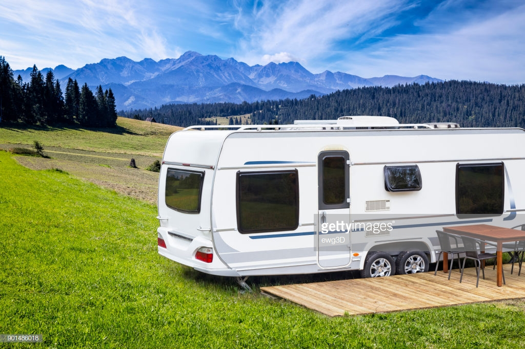 Trailer with a mountain view