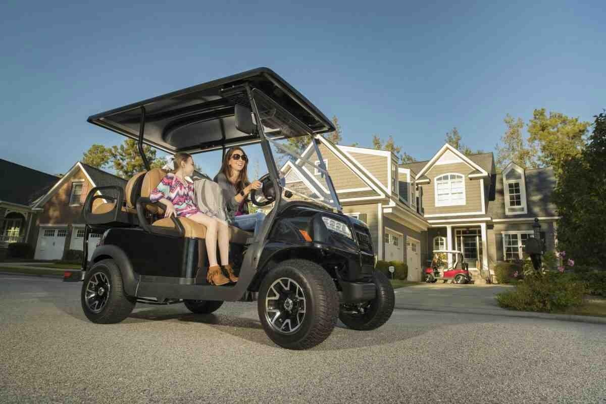 Family on Club Car Golf Cart