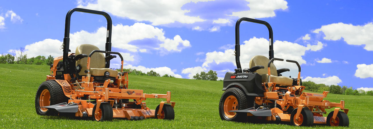 View of stationary Scag Mowers