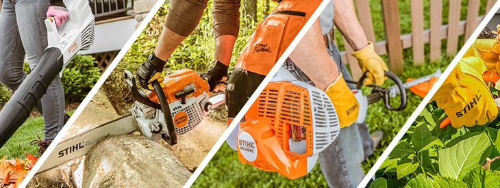 Collection of STIHL power equipment being used in various ways