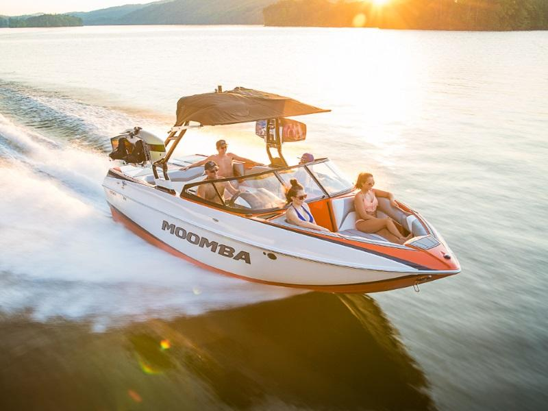 Whole family out on the water on a 2018 Moomba Craz