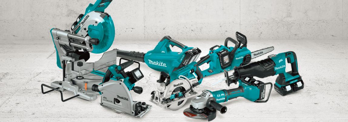 Studio shot of a collection of Makita tools
