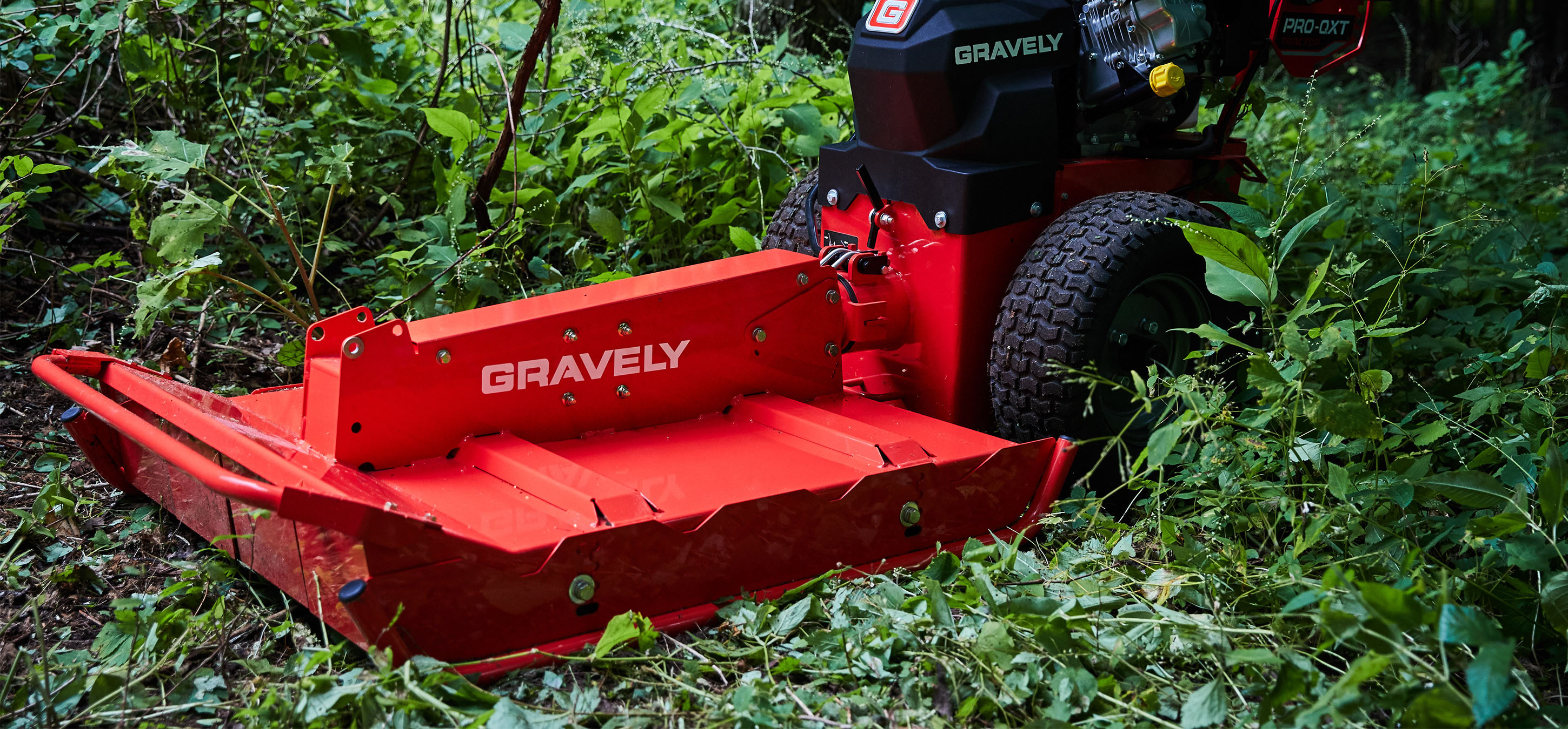 Gravely Pro-QXT Tractor close up in the shrubs in Lancaster, NH