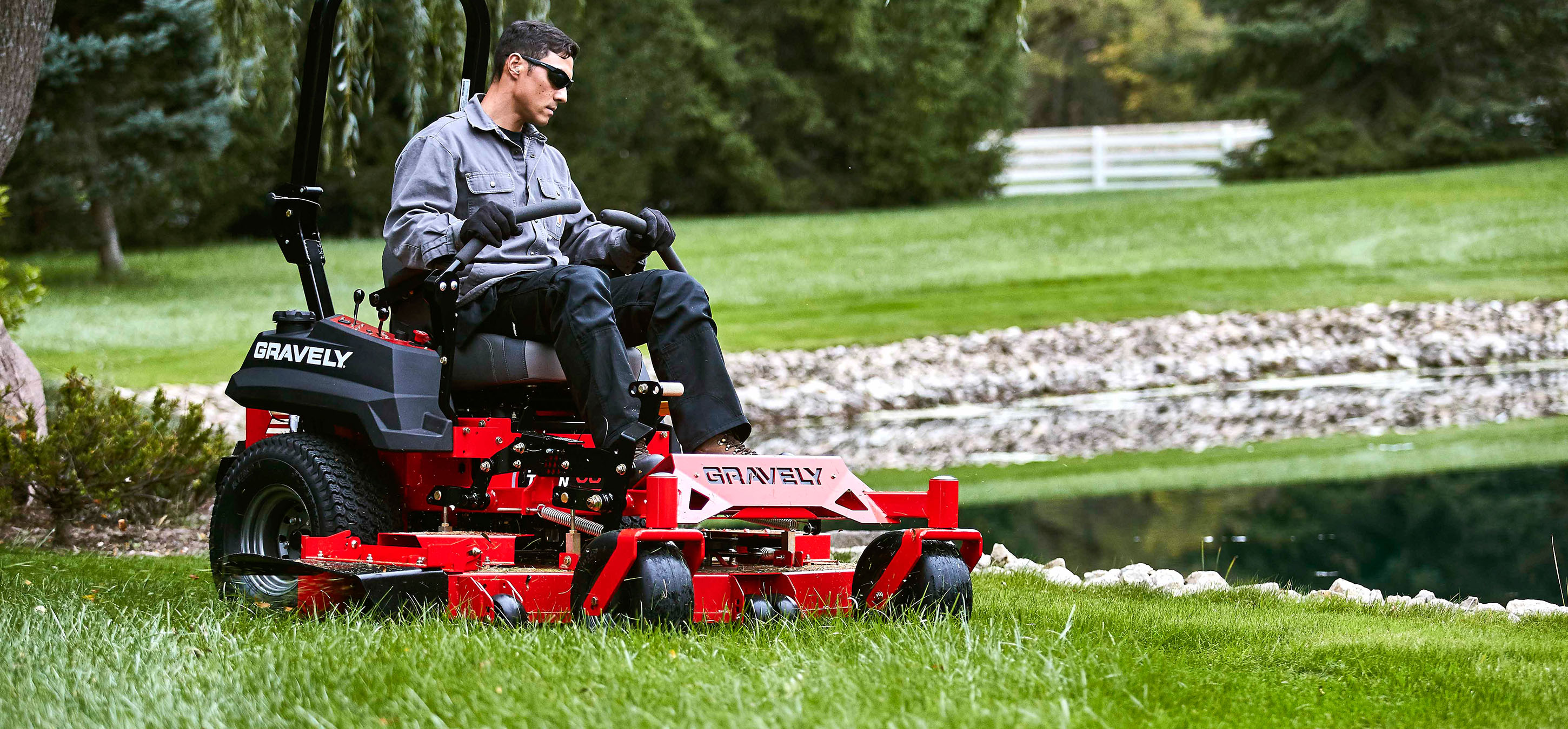 Gravely Pro Turn Mower near pond in Lancast, NH