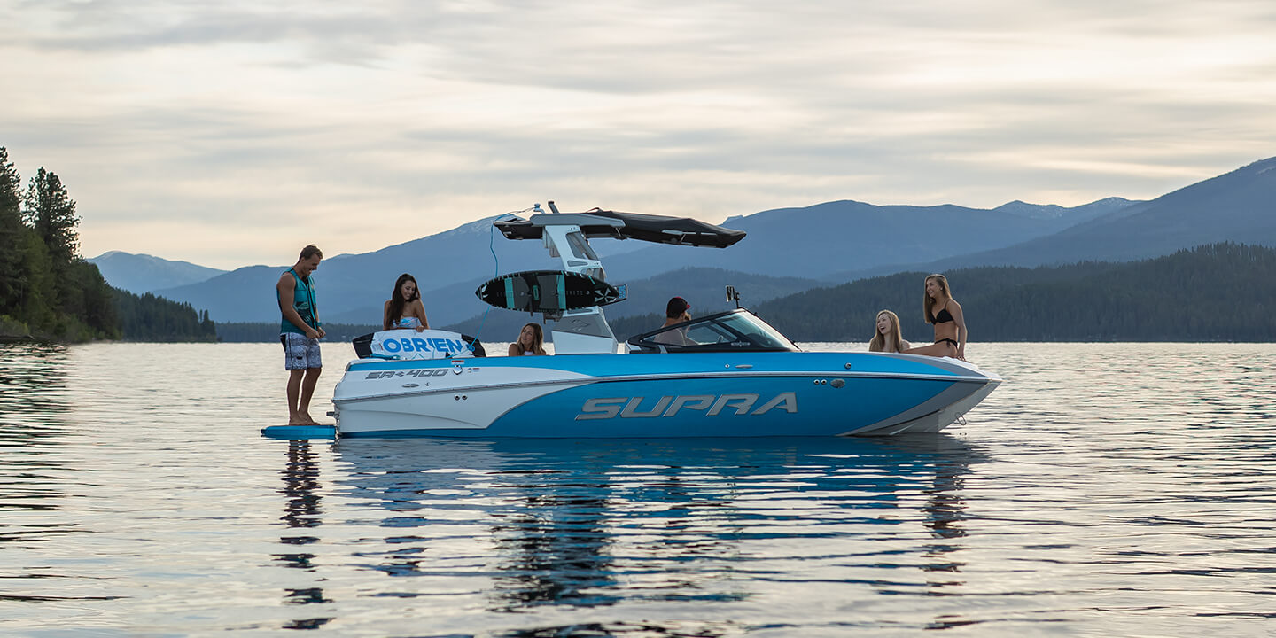 Ready for the next round of boarding on a Supra boat