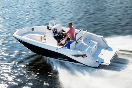 two men on a 2019 Scarab 195 Open G