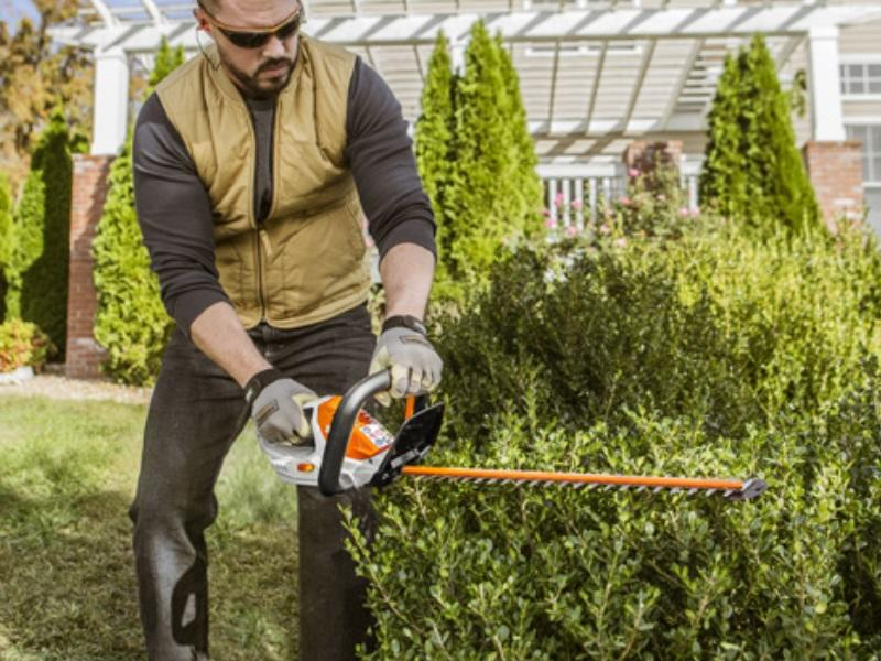 Man trimming a hedge with a 2019 Stihl® Battery Hedge Trimmers HSA 45