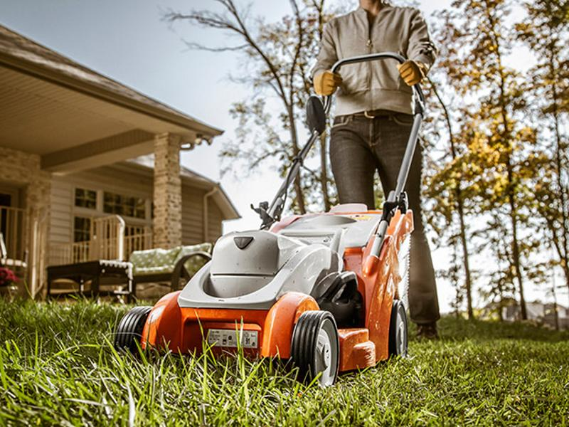 Man mowing with a 2019 Stihl® Homeowner Lawn Mowers RMA 370