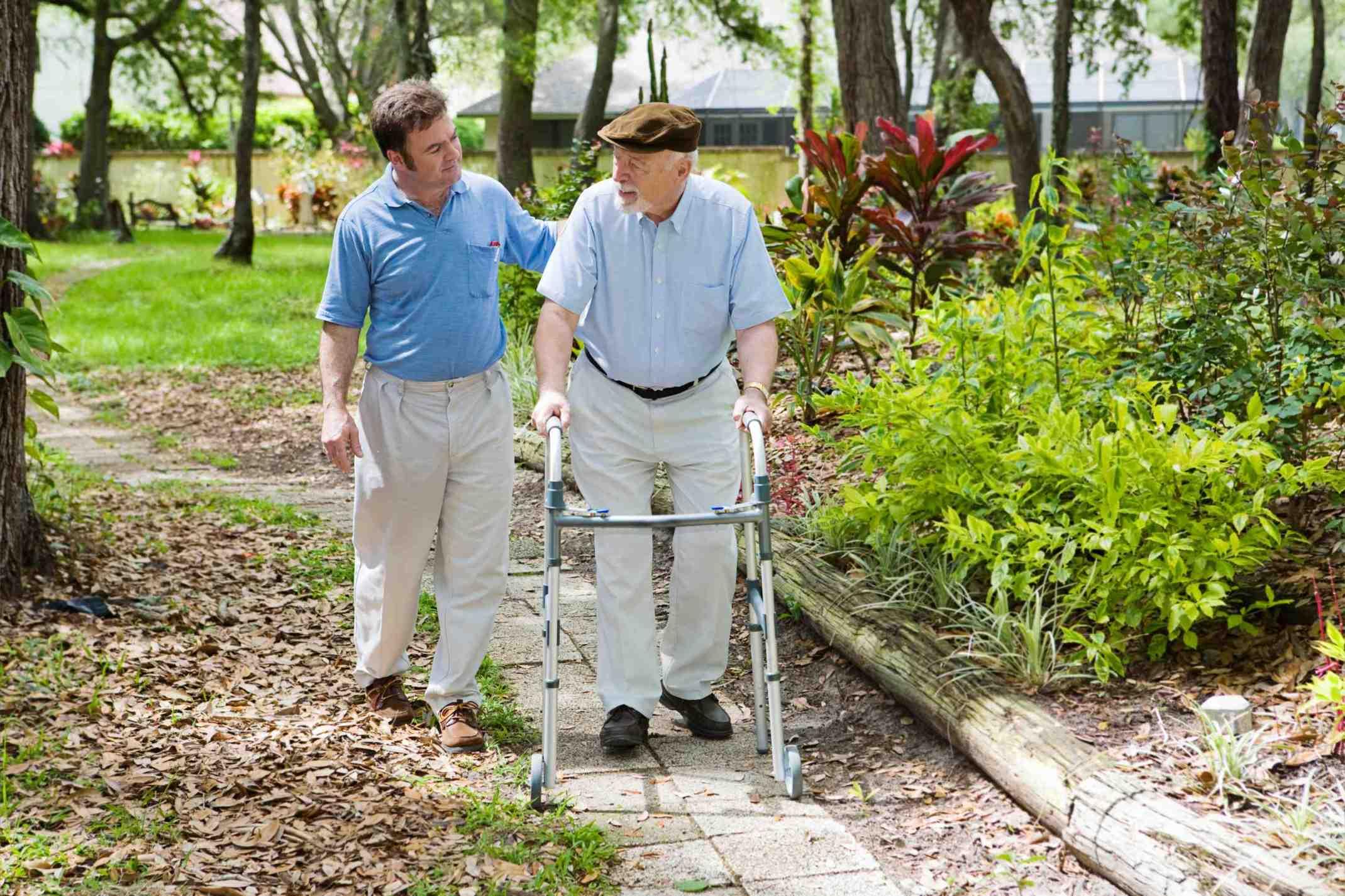 Two men taking a stroll