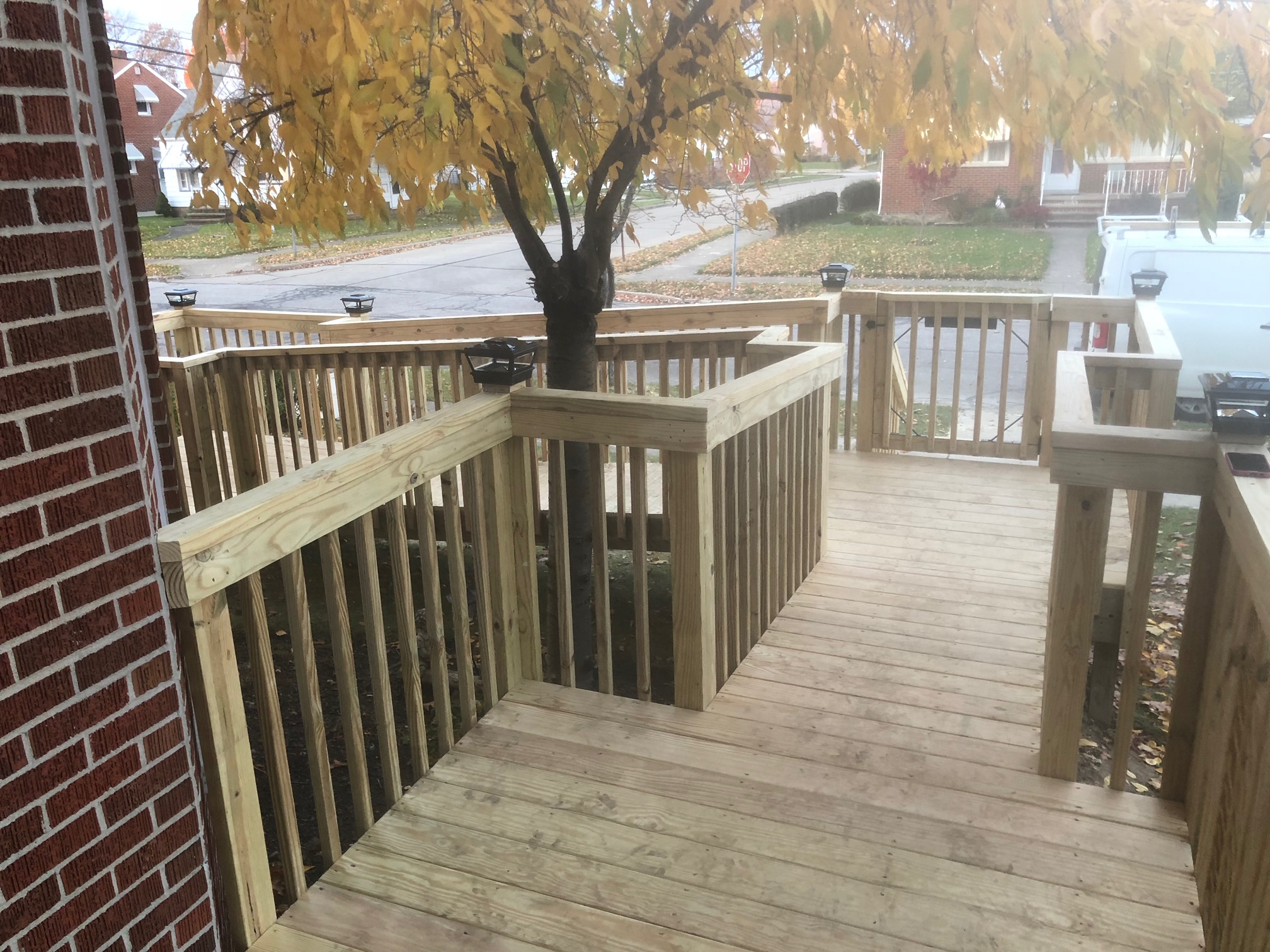 Permanent Wooden Wheelchair Ramp View From Front Door in Akron, OH