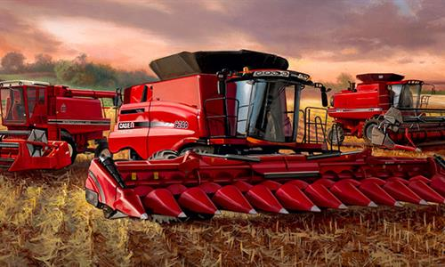 Painting of three Case IH combines parked in a field under a beautiful sky.