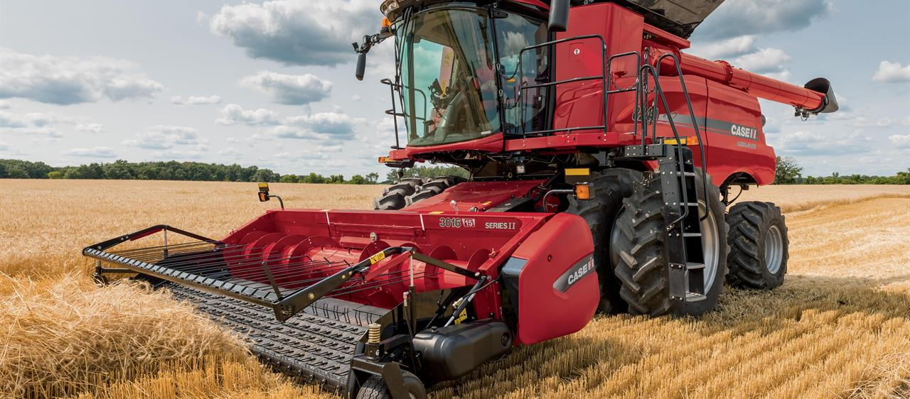 Case IH harvester working in a field.