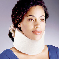 woman wearing FLA orthopedics universal cervical collar