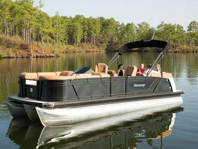 Four people relaxing on a Sanpan 2500 ULC pontoon on the water.
