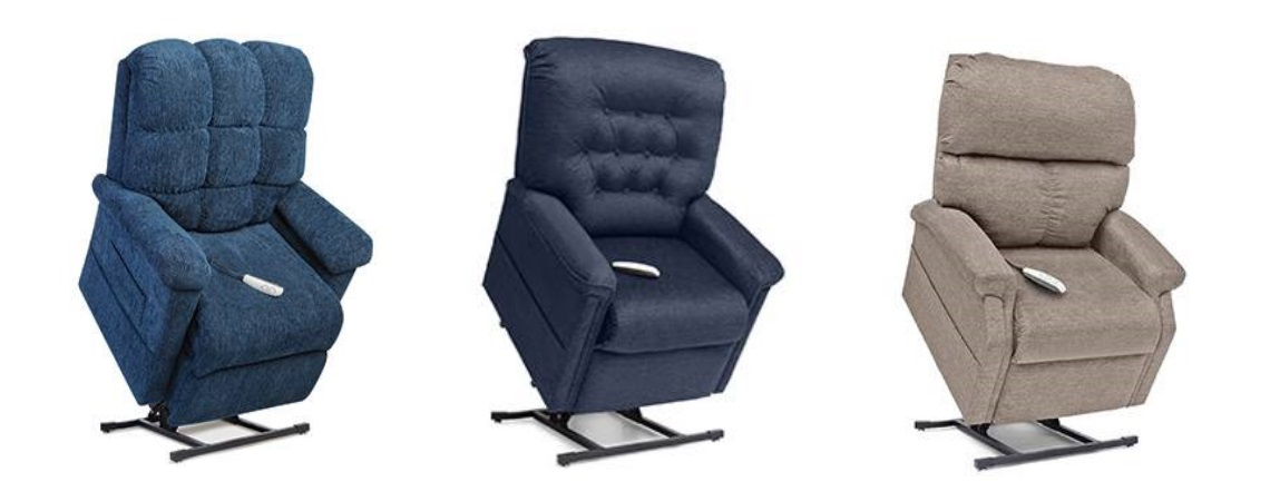 Three chaise lounger lift chairs